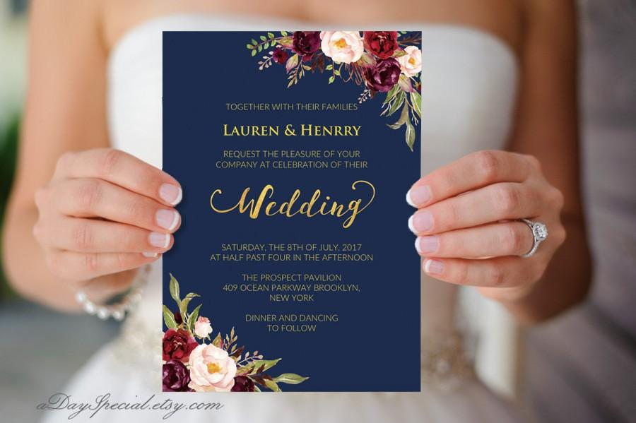 image relating to Printable Gold Foil named Military Marriage Template, Burgundy Boho Stylish Floral, Printable