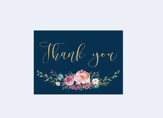 Printable Thank You Floral Thank You Card Thank You Card Navy And