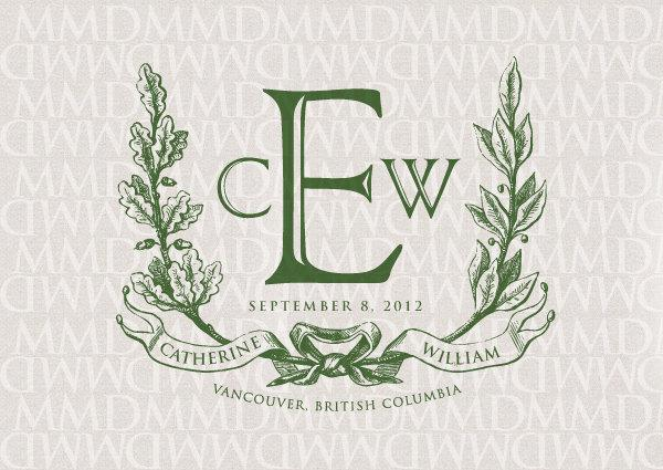 Hochzeit - Noble Wreath and Ribbon Custom Wedding Monogram - Wedding Logo - Wedding Crest