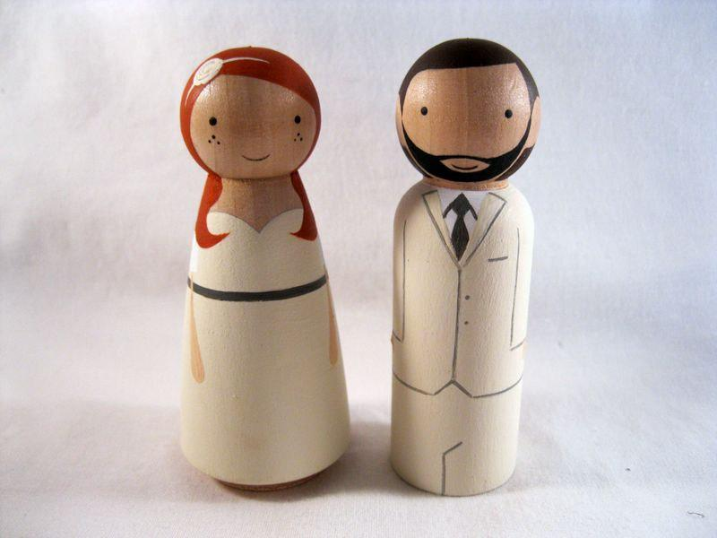 Mariage - Personalized Peg Doll Wedding Cake Topper