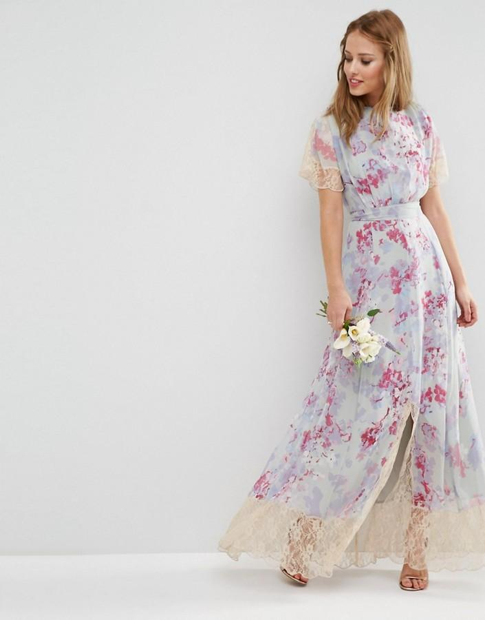 Свадьба - ASOS WEDDING Maxi Dress With Lace Detail in Print