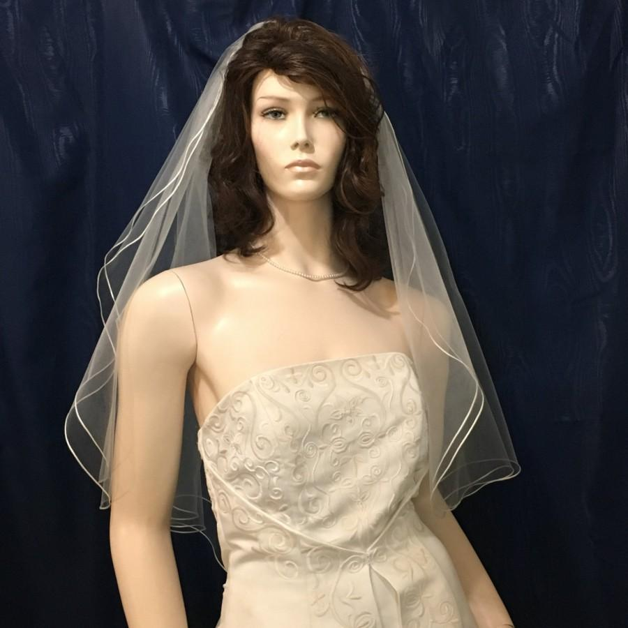 Свадьба - Satin Robbon trimmed two tier  Angel Cut Bridal Veil - available in Short, Elbow, Fingertip and Waltz Length
