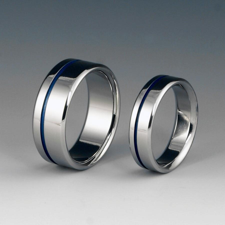 Mariage - Titanium Ring Set - Wedding - Promise - Off Centered Blue Pinstripe
