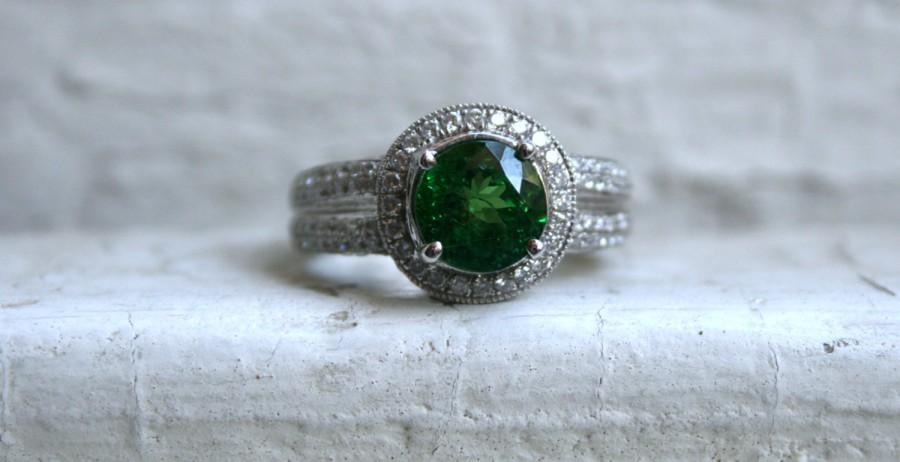 Wedding - Vintage 18K White Gold Tsavorite Garnet and Diamond Ring Engagement Ring - 3.50ct.