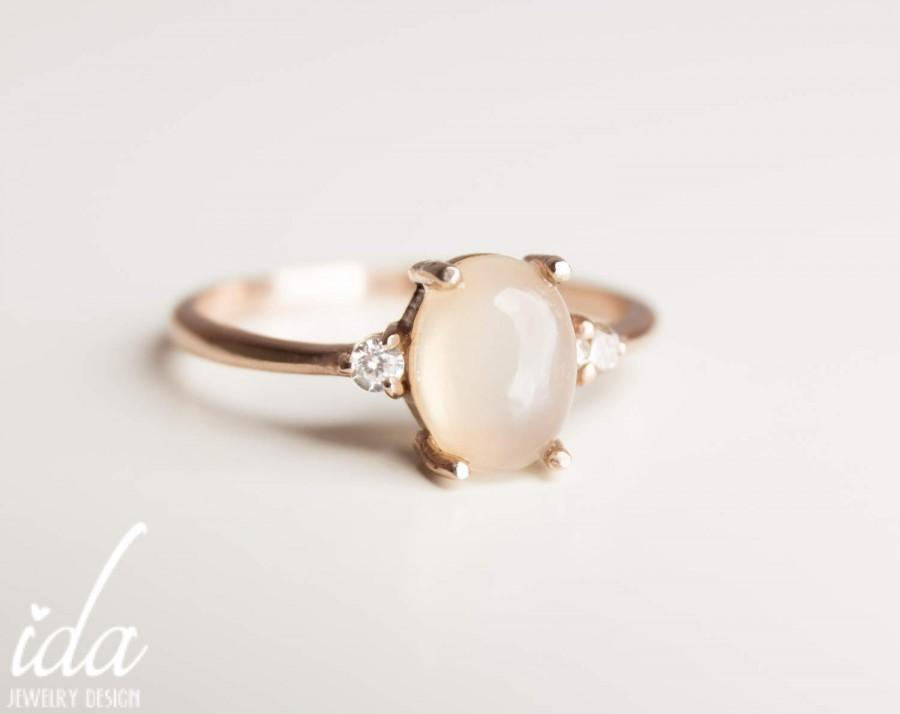 Mariage - Moonstone Engagement Ring - Rose Gold Engagement Ring - Diamond Engagement Ring - Rings - Cluster Ring - Engagement Rings for Women