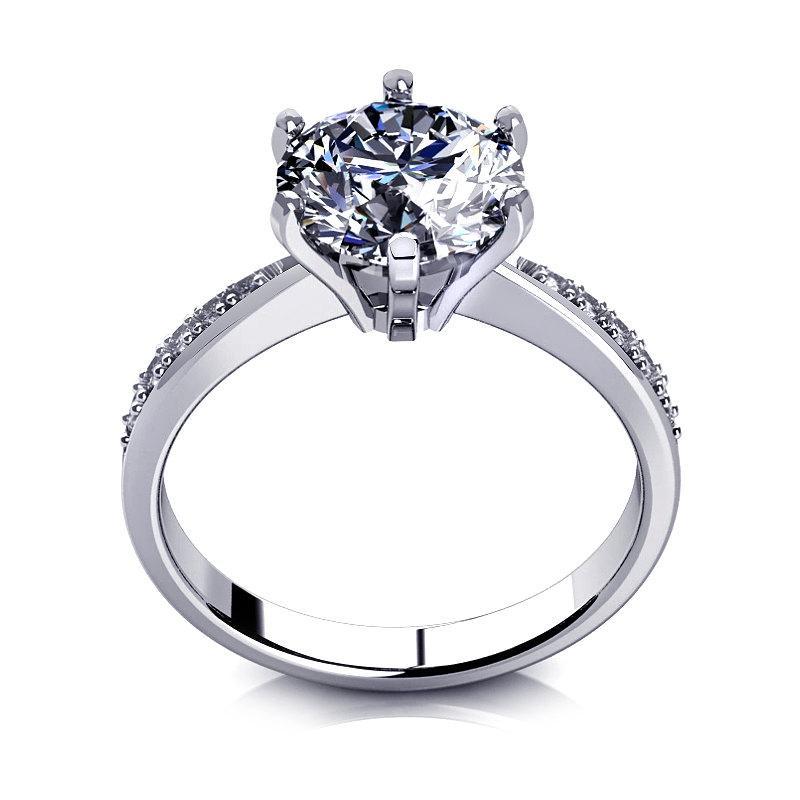 Mariage - D/VVS1 Diamond Engagement Ring 2 Carat Round Cut 14k Yellow/White Gold Bridal Jewelry