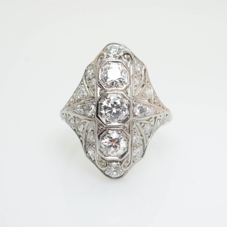Mariage - Vintage Art Deco Platinum 1.06CT Old European Cut Diamond Cocktail Ring Platinum Engagement Ring Statement Ring Large Statement Ring