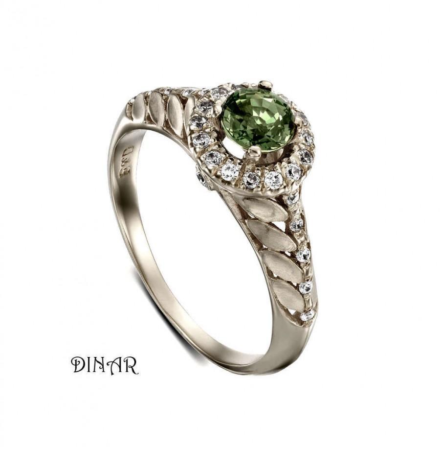 Mariage - Green Sapphire diamonds halo Engagement ring, 14k gold natural green sapphire ring, diamond leaf ring, 18k diamonds and gemstone ring
