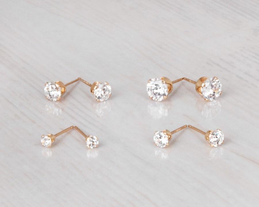 Mariage - Gold Diamond Earrings, CZ Stud Earrings, Cubic Zirconia Studs, Gold Stud Earrings, Delicate Gold Earrings, Bridesmaid Earrings, Bridal Studs