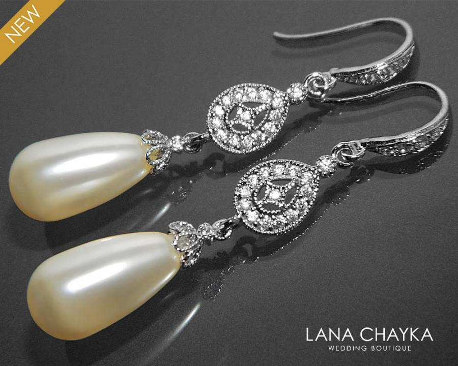 Bridal Pearl Chandelier Earrings Swarovski Ivory Teardrop Pearl ...