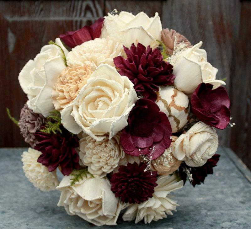 Sola Flower Bouquet, Eggplant Sola Wood Flower Brides Bouquet, Plum ...
