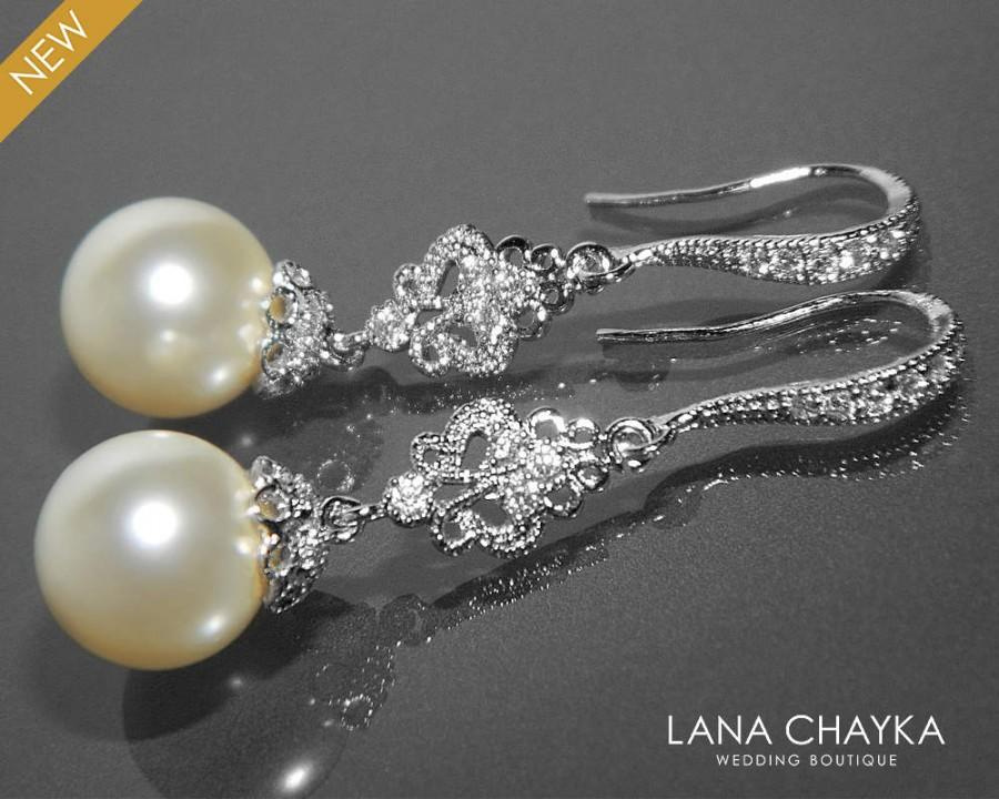 Bridal Pearl Chandelier Earrings Swarovski 10mm Ivory Pearl Silver ...