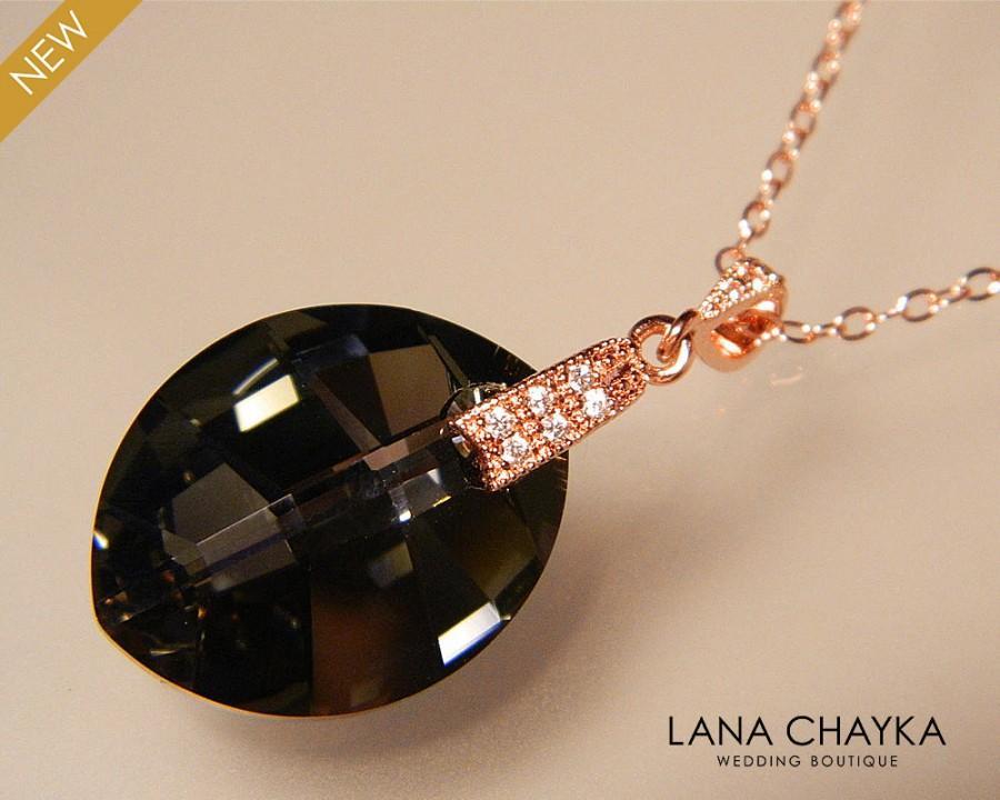 c4f26c4911735 Silver Night Rose Gold Crystal Necklace Black Gray Crystal Wedding ...
