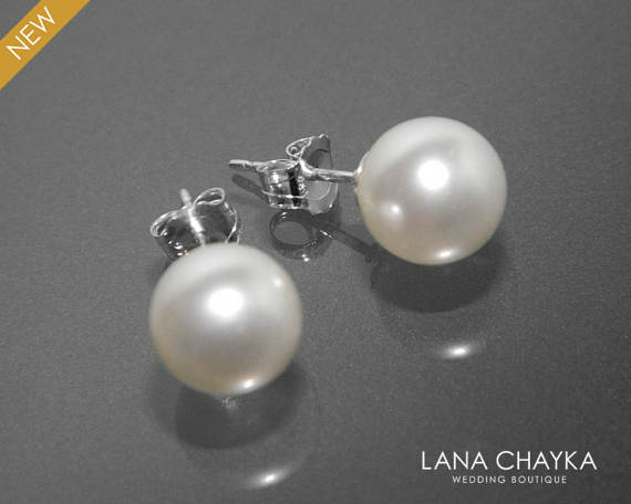 Свадьба - White Pearl Bridal Stud Earrings Swarovski 8mm Pearl Wedding Earrings 925 Sterling Silver Pearl Studs Bridesmaid Earrings Prom Pearl Jewelry