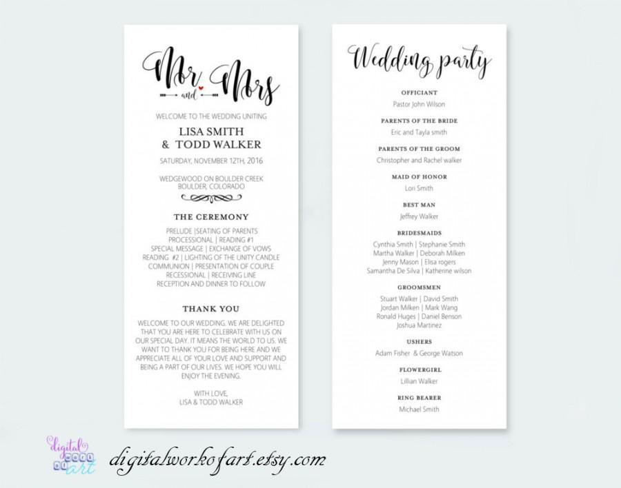 wedding program template printable diy rustic calligraphy