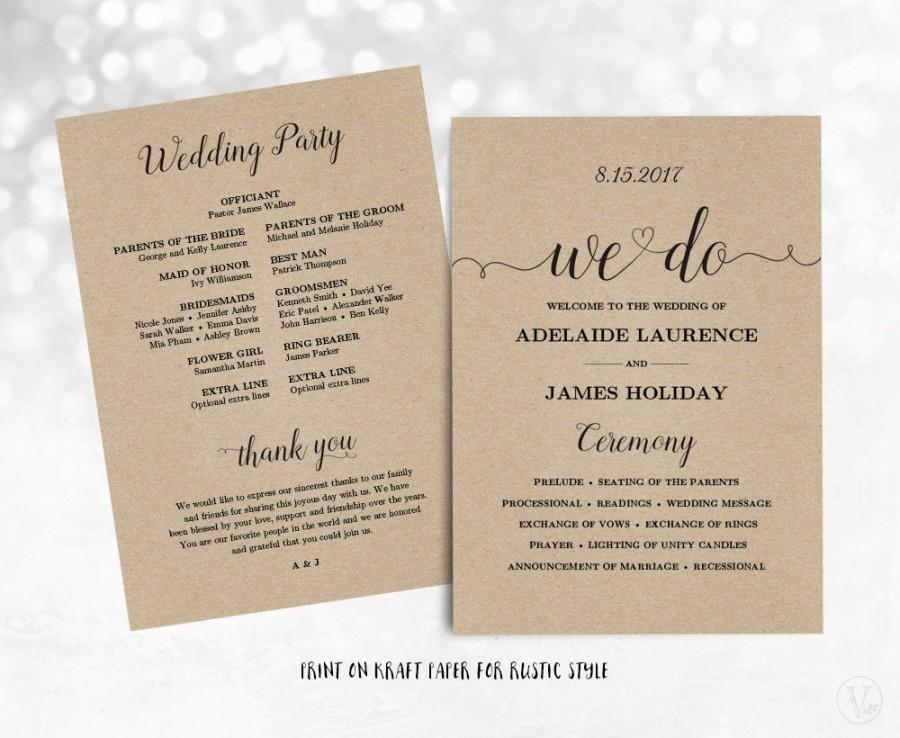 زفاف - Printable Wedding Program, Wedding Program Template, Kraft Paper Program, DIY Program, INSTANT DOWNLOAD, Editable Text, We Do VW02