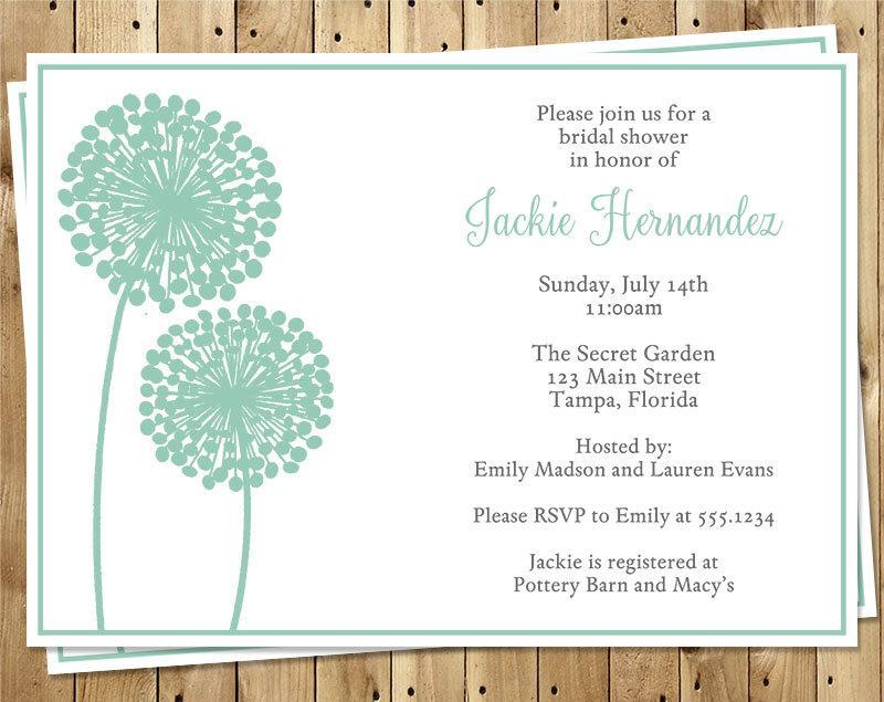 زفاف - Bridal Shower Invitations, Mint, Green, Flowers, Dandelions, Wedding, Rustic, Teal, 10 Printed Cards, FREE Shipping, MOFLM, Modern Floral