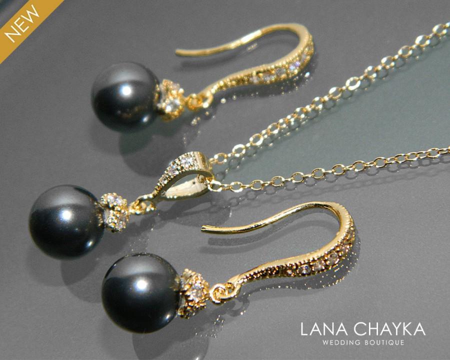 Black Pearl Gold Jewelry Set Necklace Earrings Swarovski 8mm Vermeil Cz Small Drop Wedding 45 90 Usd