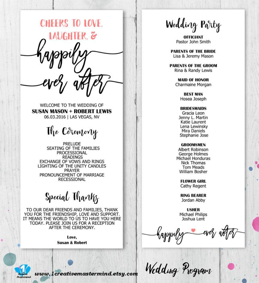 DIY Rustic Wedding Program Template Printable, Editable PDF Template ...