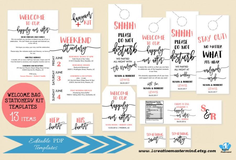 Свадьба - Welcome Bag Note Itinerary, Welcome Tag, Door hangers, Water bottle label, Welcome snack label, Editable Welcome bag template, #1CM87-1