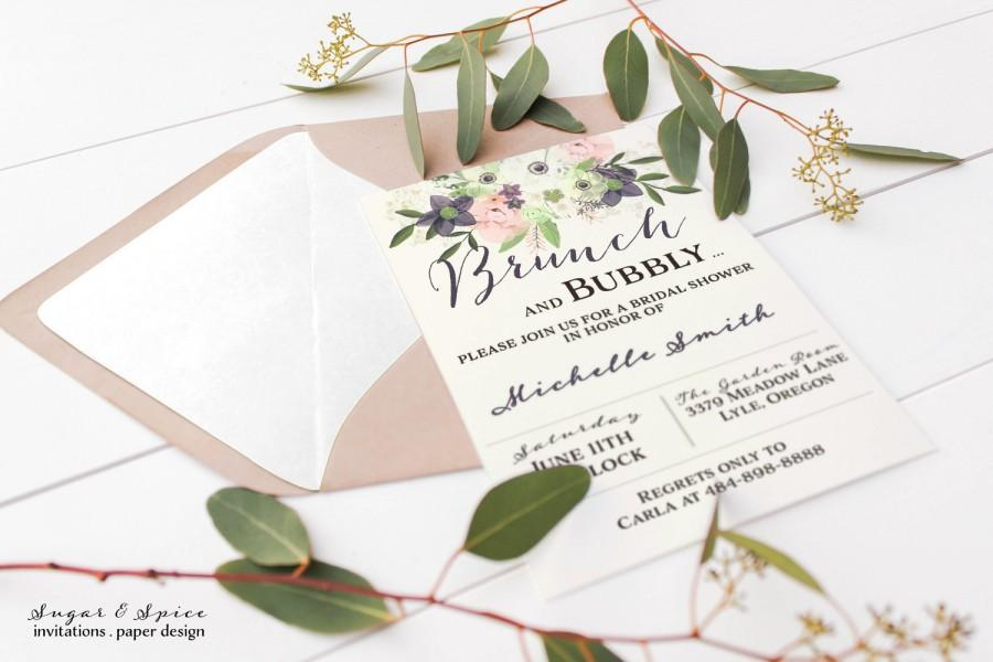 زفاف - Bridal Shower Invitation, Brunch and Bubbly Bridal Shower Invitation, Brunch Champagne, Printable Bridal Shower Invitation