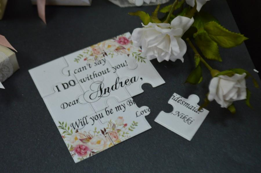 Свадьба - Bridesmaid Invitation puzzel Will you be my Bridesmaid Wedding Invitation Flower girl