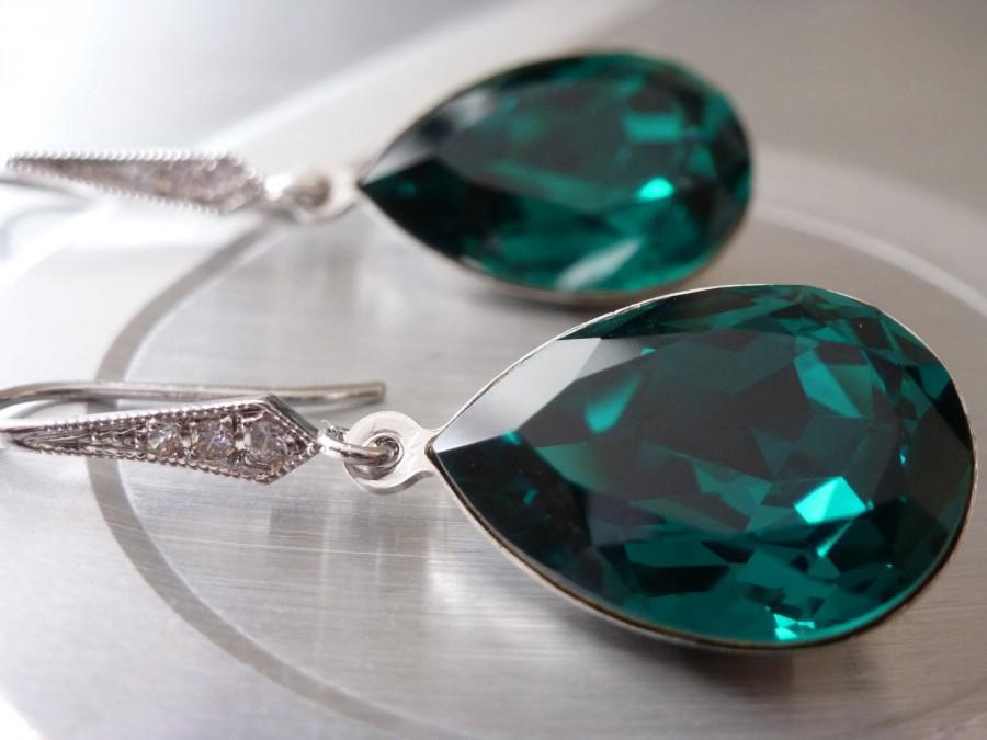 Mariage - Angelina Jolie Emerald Earrings Emerald Green Earrings Crystal Swarovski Large Green Earrings Wedding Bridesmaid Swarovski