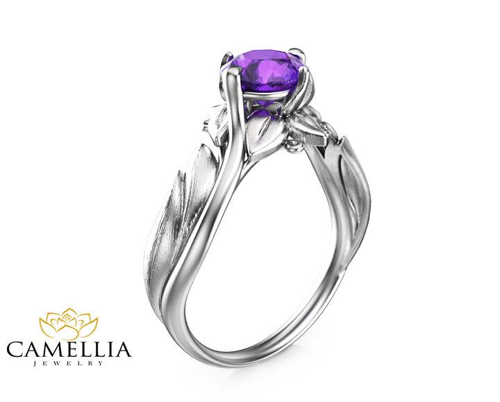 Mariage - Purple Amethyst Engagement Ring 14K White Gold Ring Unique Solitaire Ring Anniversary Amethyst Ring