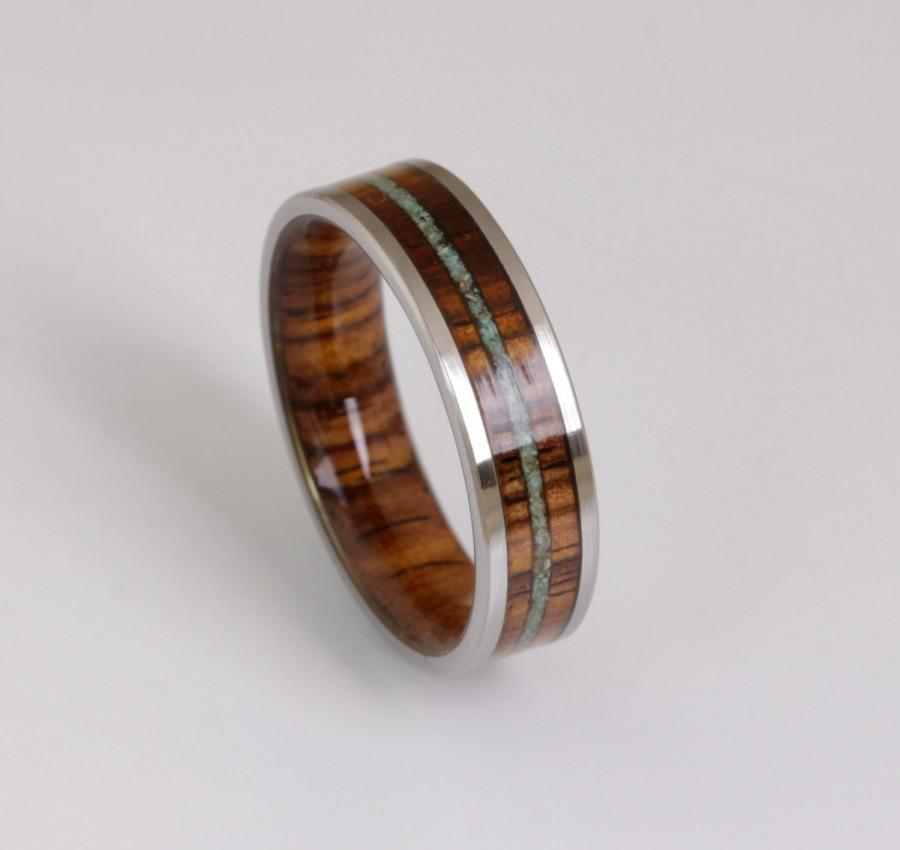 Mariage - wood wedding band mens wedding ring TURQUOISE ring WOOD ring man jewelry