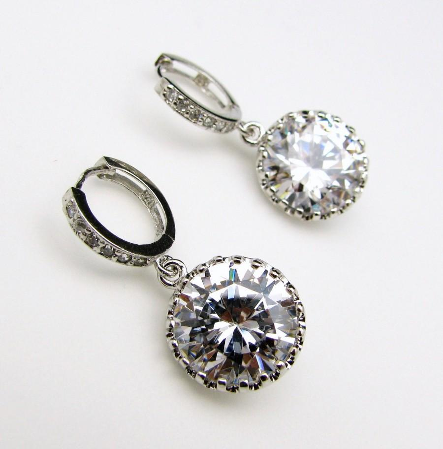 Свадьба - STERLING SILVER-Wedding bridal Clear white round cubic zirconia drop on cz hoop earrings - Free US shipping