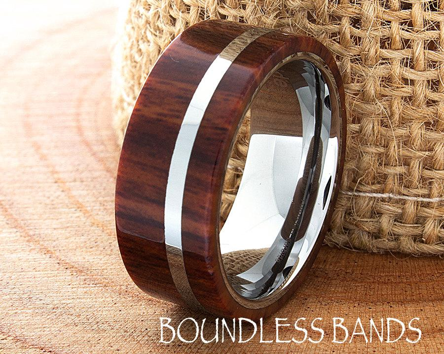 Tungsten Wood Wedding Band Flat High Polished Ring Comfort Fit