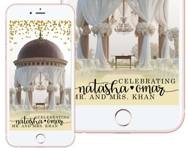 Hochzeit - Elegant Love Custom Wedding Snapchat Filter