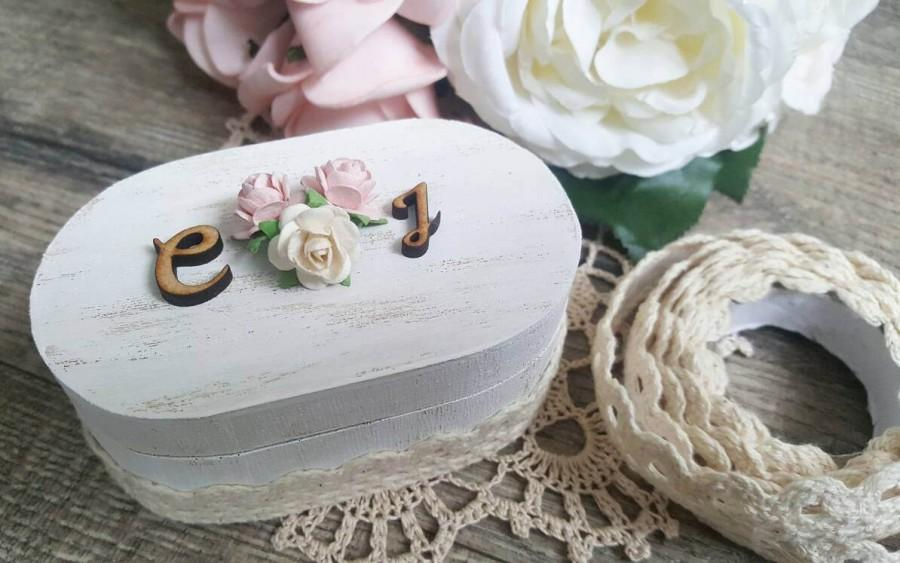 Свадьба - Ring Bearer Box - Shabby Chic - Rounded