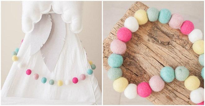 Mariage - Dippin Dots -Spring Felt Ball Garland -Wool Felt Poms -Felt Ball Garland - Felt Bead garland - Banner, Bunting, Garland - Mantel Decor