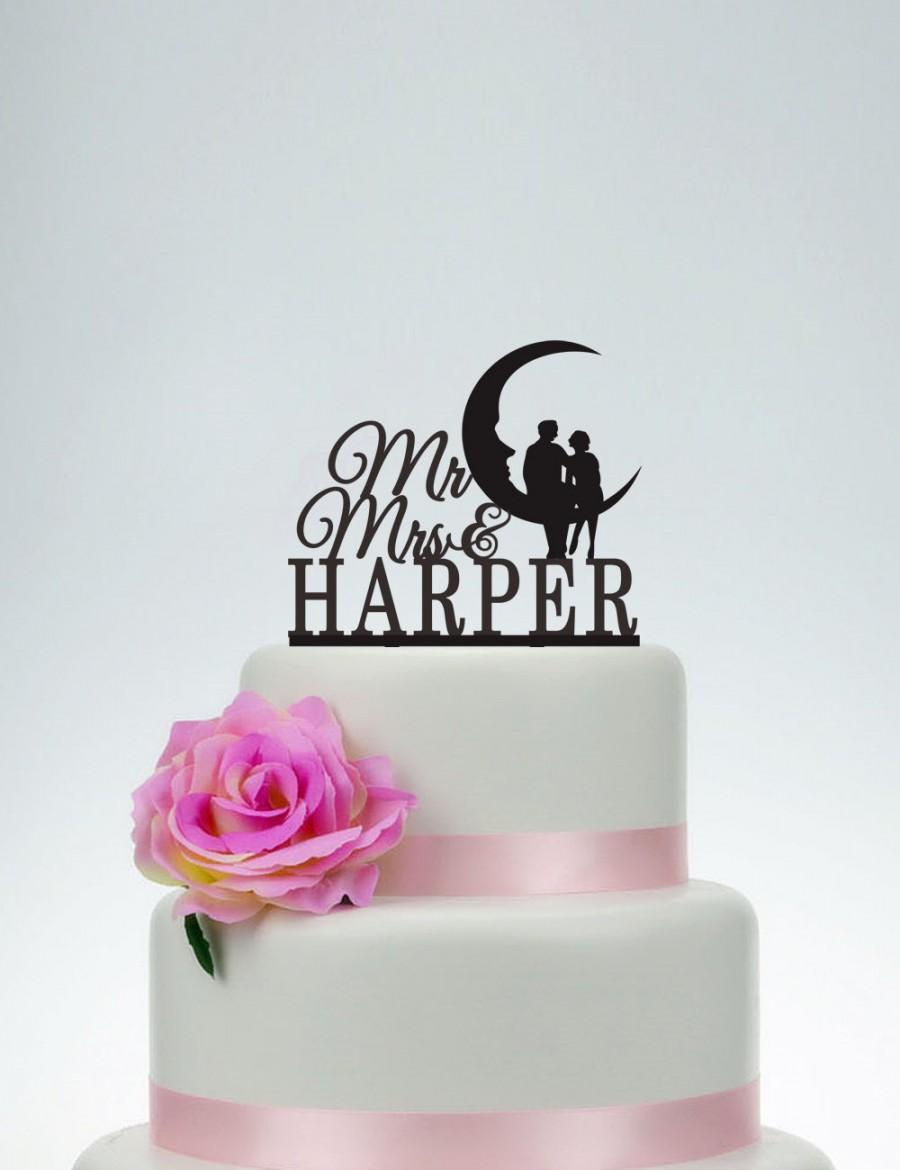 Mariage - Wedding Cake Topper,Mr and Mrs Cake Topper With Surname,Custom Cake Topper,Personalized Cake Topper,Wedding Decoration C068