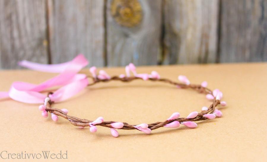 Свадьба - Pink Bridal Halo, Natural Flower Crown, Floral Garland, Bridesmaid Garland, Flower Girl Crown, Flower Headpiece, Wedding Hair Piece