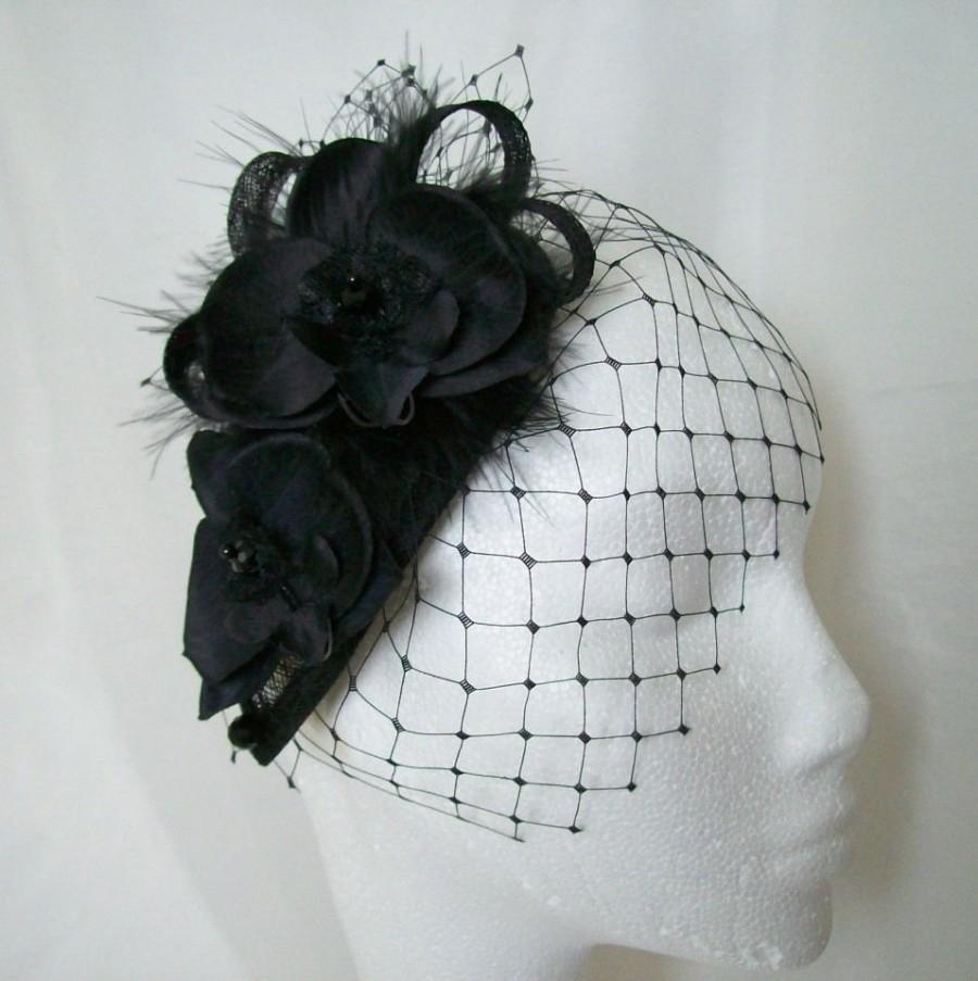 Mariage - Black Vintage Fascinator- Merry Widow Blusher Veil Orchid Flower & Crystal Teardrop Gothic Goth Wedding Mini Hat Headpiece - Made to Order