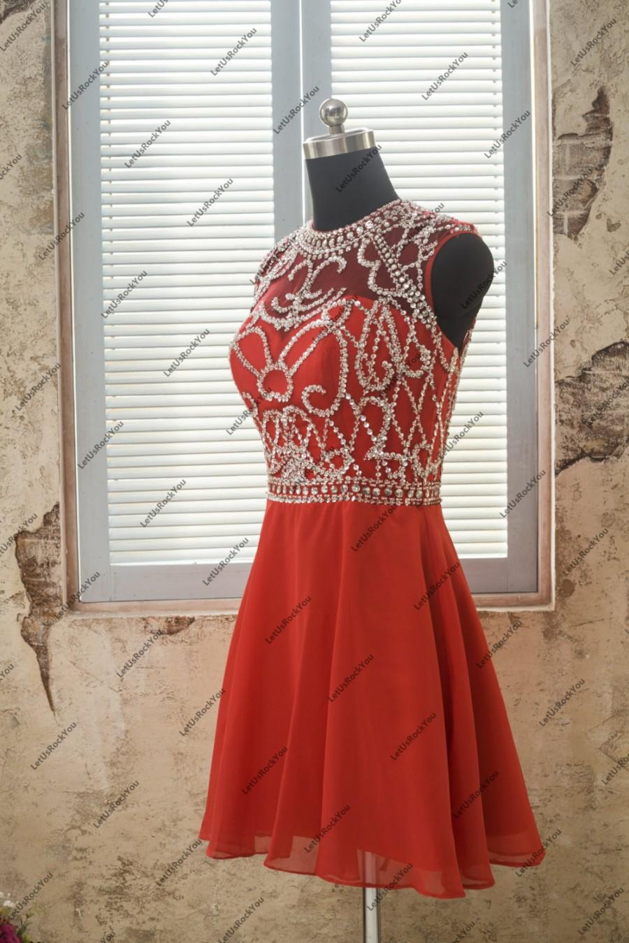 Mariage - Red Sequins Beaded O Neck Short Red Bridesmaid Homecoming Dresses,prom dresses,prom dress,bridesmaid dresses,bridesmaid dress,evening dress