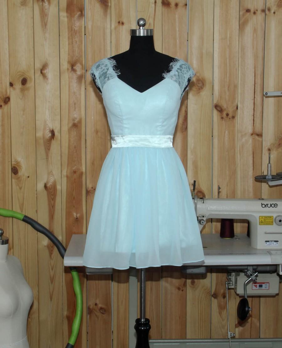 Mariage - 2016 Light Sky Bridesmaid Dress, V neck V back Short Popular Lace Chiffon Bridesmaid Dress With Straps