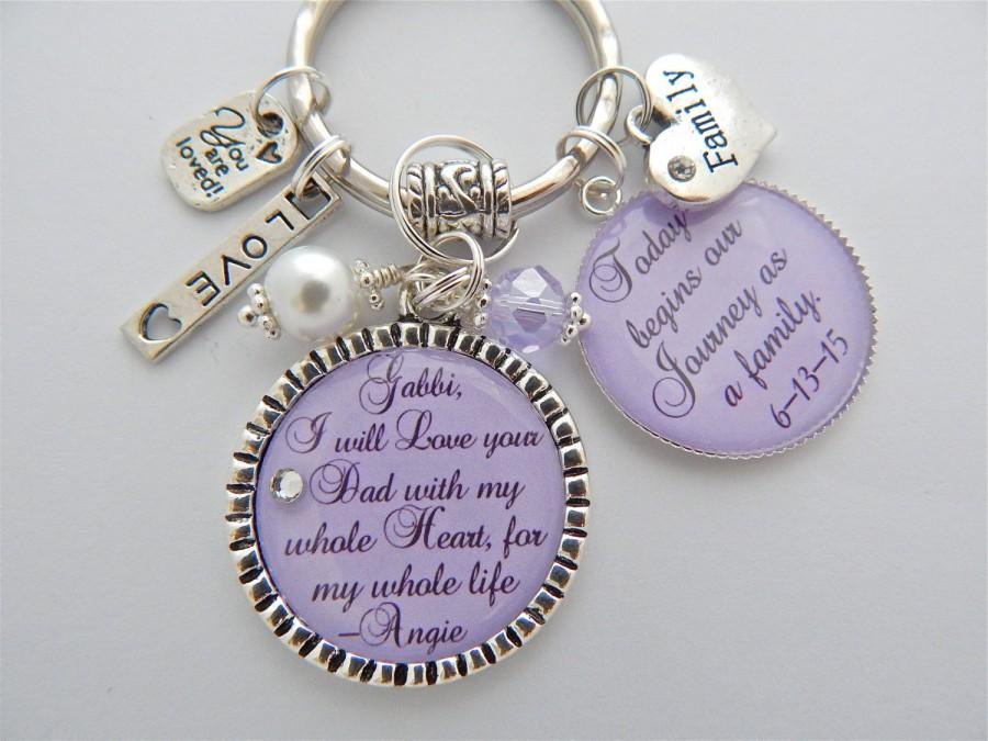 Свадьба - Step Daughter Gift Step Mother Purple Charm Necklace Wedding Keychain I will love you with my whole heart Wedding Quote Blended Family Gift