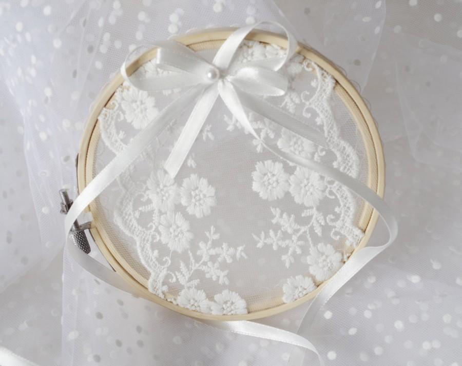 Wedding Ring Hoop Ring Bearer Rustic Wedding Ring Pillow Alternative
