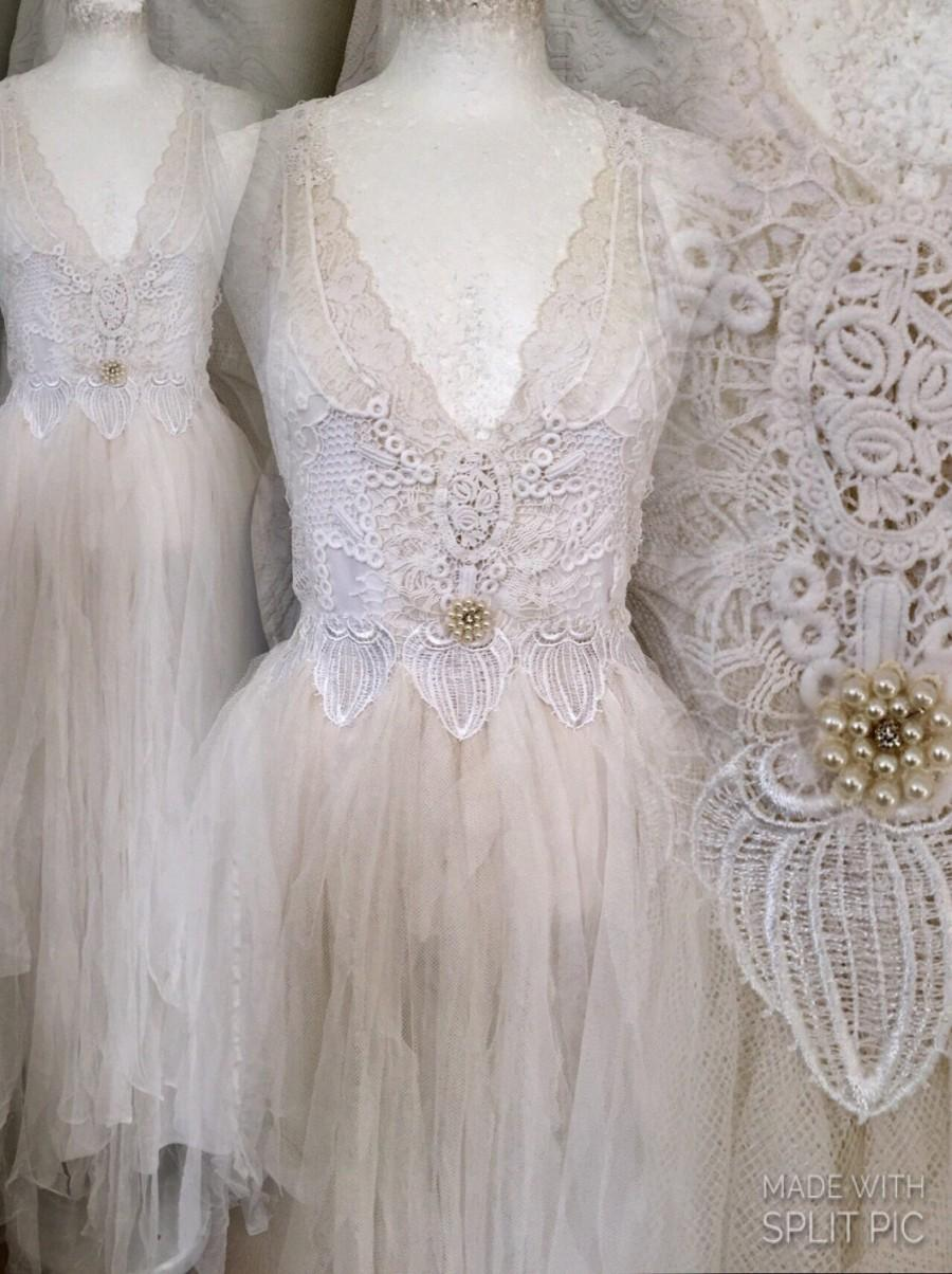 Mariage - Fairy wedding dress with pearls,Boho wedding dress fairy,Wedding dress with pearls,bridal gown fairytale dress,  , bohemian bridal gown lace