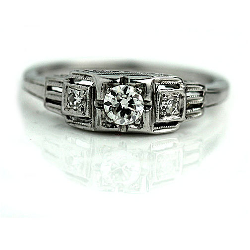 Wedding - Antique 1930's Art Deco Engagement Ring Antique Art Deco .24ct Old European Cut Diamond in 14Kt White Gold Vintage Ring Size 5!