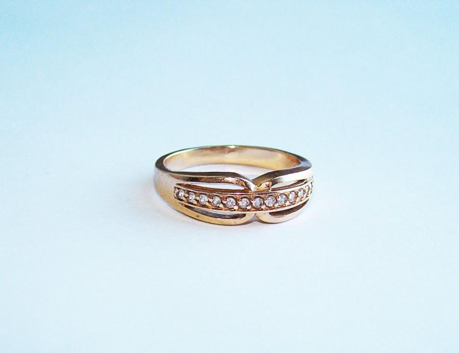 Wedding - Vintage Engagement 583 Pink Rose 14K GOLD Ring SIZE 7. Gold 14k (583) Rose Gold & Cubic Zirconia Stone Ring.