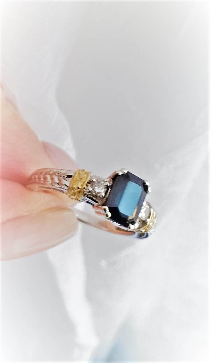 Gothic Steampunk Emerald Cut Black Sapphire Diamond 14k Wg Yg Engraved Engagement  Ring Promise Right Hand Stacking Vintage Estate Art Deco