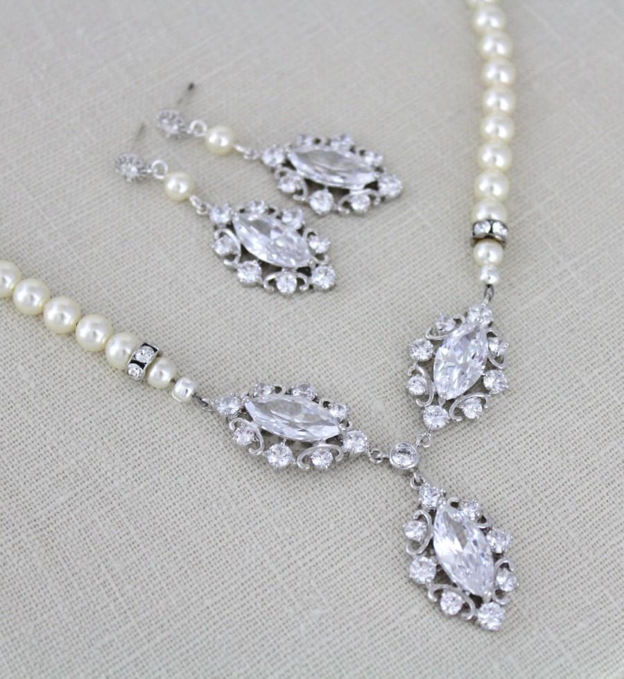 زفاف - Crystal Bridal necklace, Pearl Wedding necklace, Bridal jewelry Set, Wedding necklace set, Pearl necklace and earrings, Crystal earrings