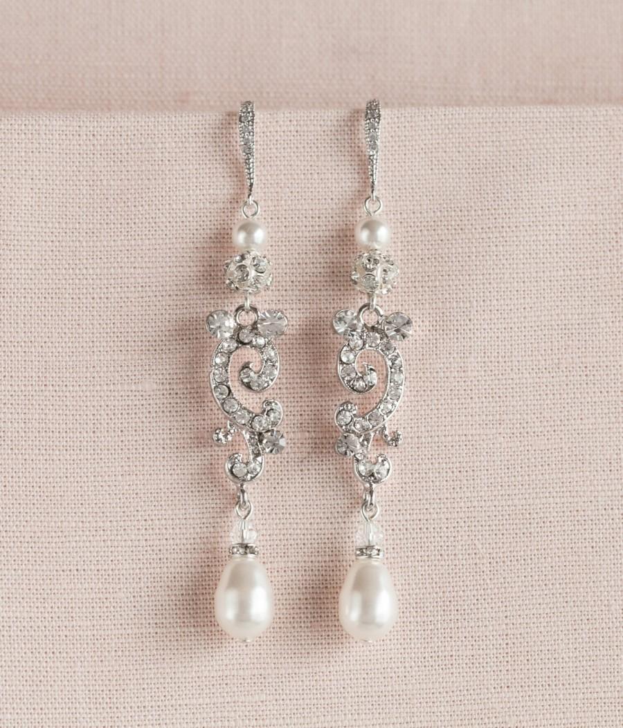 Wedding - Pearl and Crystal Bridal Earrings, Long wedding earrings, Rhinestone Chandelier Bridal Earrings, White Ivory or Cream pearls, Bella Earrings
