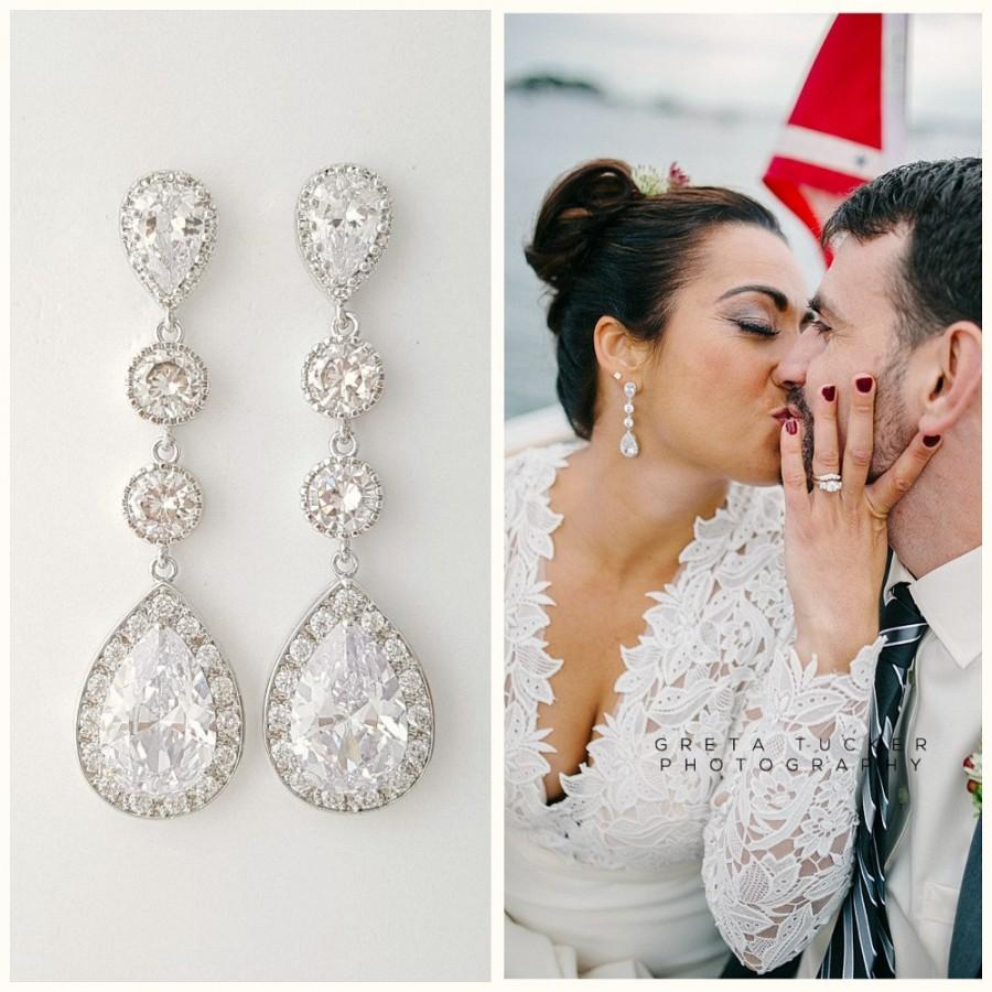 Bridal Earrings Crystal Long Wedding