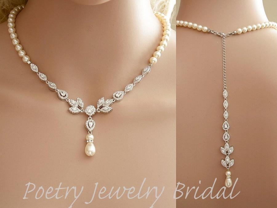 Hochzeit - Bridal Backdrop Necklace Cubic Zirconia and Pearl Necklace Wedding Crystal Back Drop Necklace Bridal Back Necklace, Amity