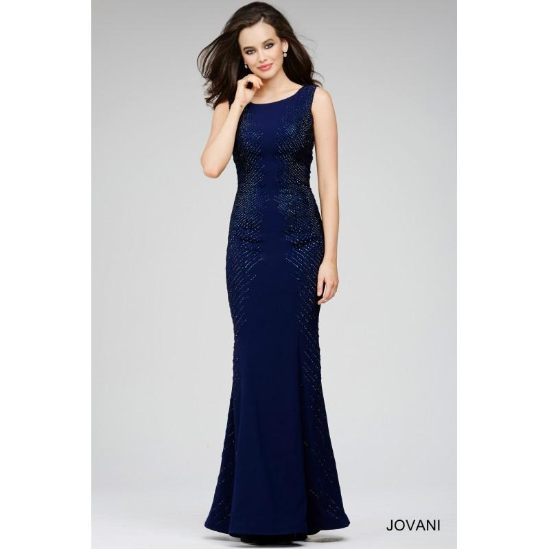 Wedding - Jovani 31608 Evening Dress Sleeveless Scoop Neckline Beaded Sides - Social and Evenings Scoop, Sleeveless Jovani Dress - 2017 New Wedding Dresses